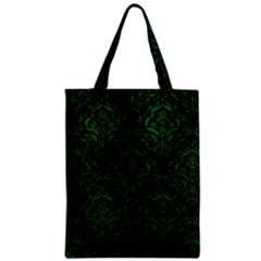 Damask1 Black Marble & Green Leather Zipper Classic Tote Bag