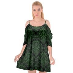 Damask1 Black Marble & Green Leather Cutout Spaghetti Strap Chiffon Dress