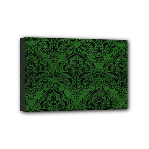 Damask1 Black Marble & Green Leather (r) Mini Canvas 6  X 4