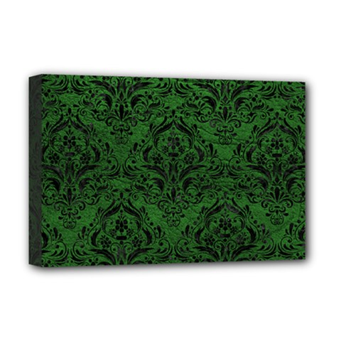 Damask1 Black Marble & Green Leather (r) Deluxe Canvas 18  X 12