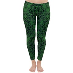Damask1 Black Marble & Green Leather (r) Classic Winter Leggings