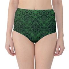Damask1 Black Marble & Green Leather (r) High Waist Bikini Bottoms