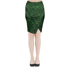 Damask1 Black Marble & Green Leather (r) Midi Wrap Pencil Skirt