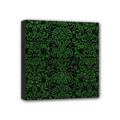 Damask2 Black Marble & Green Leather Mini Canvas 4  X 4