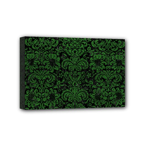 Damask2 Black Marble & Green Leather Mini Canvas 6  X 4