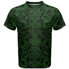 Damask2 Black Marble & Green Leather Men s Cotton Tee
