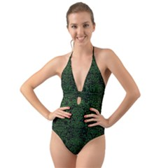 Damask2 Black Marble & Green Leather Halter Cut Out One Piece Swimsuit