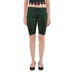 Damask2 Black Marble & Green Leather Yoga Cropped Leggings