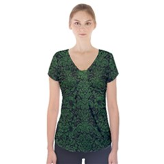Damask2 Black Marble & Green Leather Short Sleeve Front Detail Top