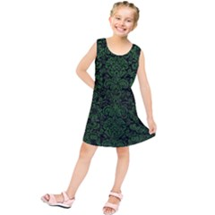 Damask2 Black Marble & Green Leather Kids  Tunic Dress