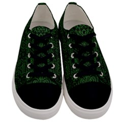 Damask2 Black Marble & Green Leather Men s Low Top Canvas Sneakers