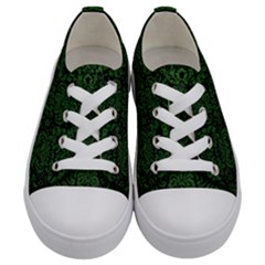 Damask2 Black Marble & Green Leather Kids  Low Top Canvas Sneakers