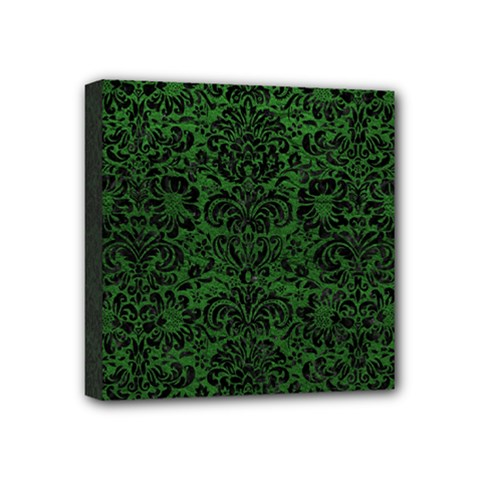 Damask2 Black Marble & Green Leather (r) Mini Canvas 4  X 4