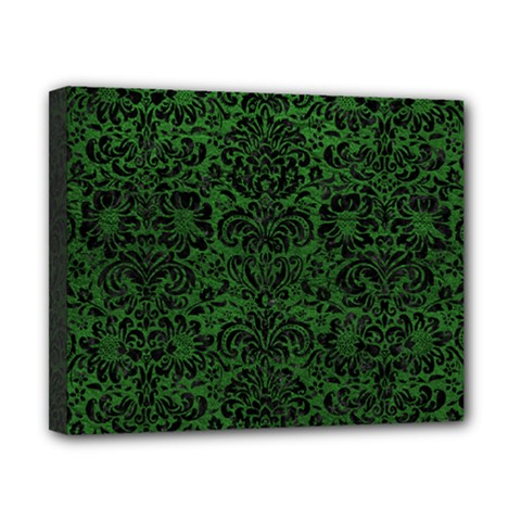 Damask2 Black Marble & Green Leather (r) Canvas 10  X 8