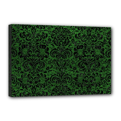 Damask2 Black Marble & Green Leather (r) Canvas 18  X 12