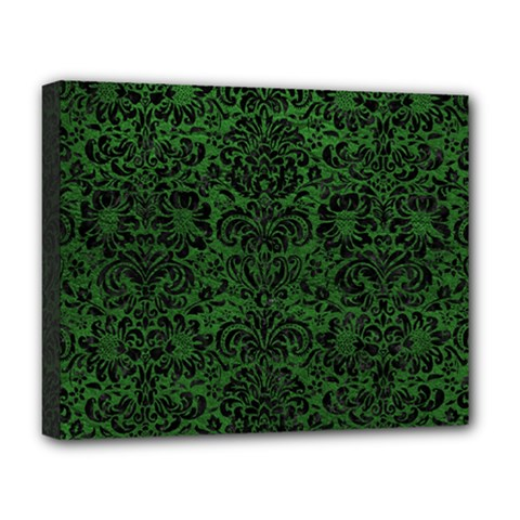 Damask2 Black Marble & Green Leather (r) Deluxe Canvas 20  X 16