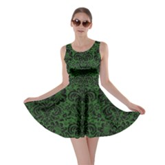 Damask2 Black Marble & Green Leather (r) Skater Dress