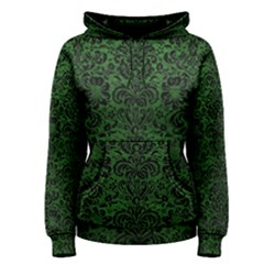 Damask2 Black Marble & Green Leather (r) Women s Pullover Hoodie