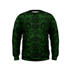 Damask2 Black Marble & Green Leather (r) Kids  Sweatshirt