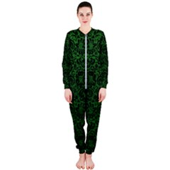 Damask2 Black Marble & Green Leather (r) Onepiece Jumpsuit (ladies)