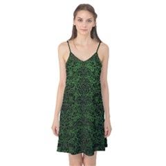 Damask2 Black Marble & Green Leather (r) Camis Nightgown