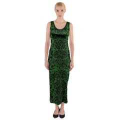 Damask2 Black Marble & Green Leather (r) Fitted Maxi Dress