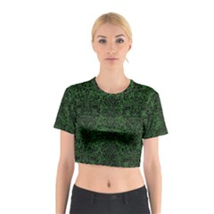 Damask2 Black Marble & Green Leather (r) Cotton Crop Top