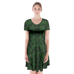Damask2 Black Marble & Green Leather (r) Short Sleeve V Neck Flare Dress