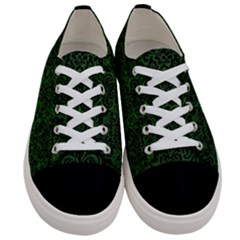 Damask2 Black Marble & Green Leather (r) Women s Low Top Canvas Sneakers