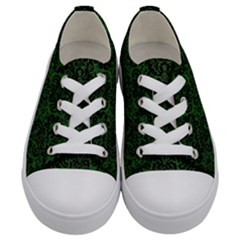 Damask2 Black Marble & Green Leather (r) Kids  Low Top Canvas Sneakers