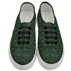 Damask2 Black Marble & Green Leather (r) Women s Classic Low Top Sneakers
