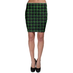 Houndstooth1 Black Marble & Green Leather Bodycon Skirt