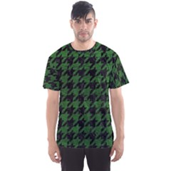 Houndstooth1 Black Marble & Green Leather Men s Sports Mesh Tee