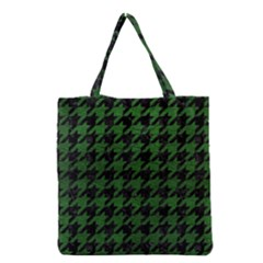 Houndstooth1 Black Marble & Green Leather Grocery Tote Bag