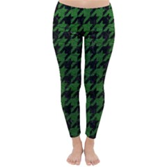 Houndstooth1 Black Marble & Green Leather Classic Winter Leggings