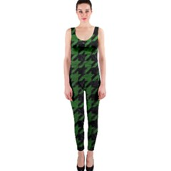 Houndstooth1 Black Marble & Green Leather Onepiece Catsuit