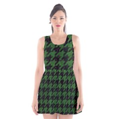 Houndstooth1 Black Marble & Green Leather Scoop Neck Skater Dress