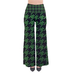 Houndstooth1 Black Marble & Green Leather Pants