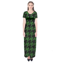Houndstooth1 Black Marble & Green Leather Short Sleeve Maxi Dress