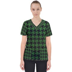 Houndstooth1 Black Marble & Green Leather Scrub Top
