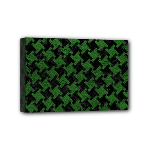 Houndstooth2 Black Marble & Green Leather Mini Canvas 6  X 4