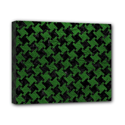 Houndstooth2 Black Marble & Green Leather Canvas 10  X 8