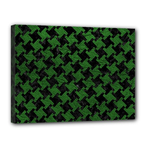 Houndstooth2 Black Marble & Green Leather Canvas 16  X 12