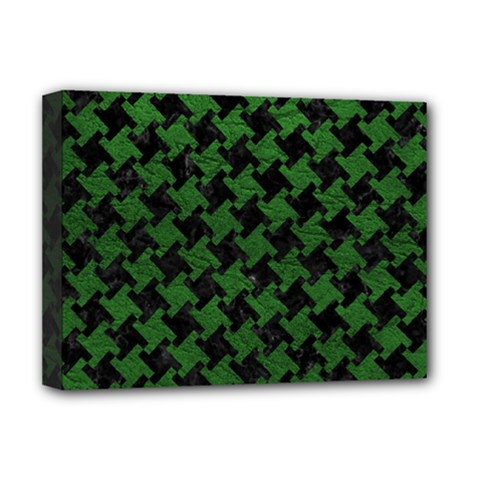 Houndstooth2 Black Marble & Green Leather Deluxe Canvas 16  X 12