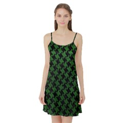 Houndstooth2 Black Marble & Green Leather Satin Night Slip