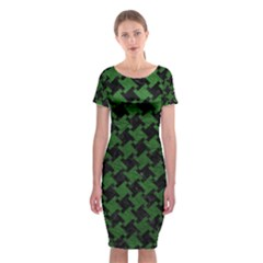 Houndstooth2 Black Marble & Green Leather Classic Short Sleeve Midi Dress