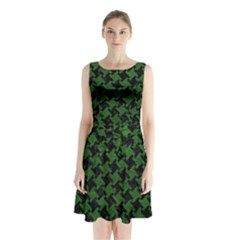 Houndstooth2 Black Marble & Green Leather Sleeveless Waist Tie Chiffon Dress
