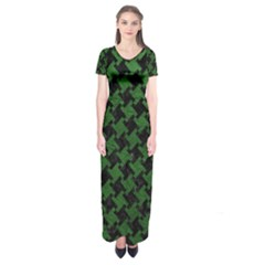 Houndstooth2 Black Marble & Green Leather Short Sleeve Maxi Dress