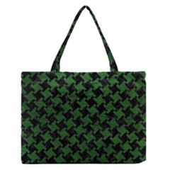 Houndstooth2 Black Marble & Green Leather Zipper Medium Tote Bag