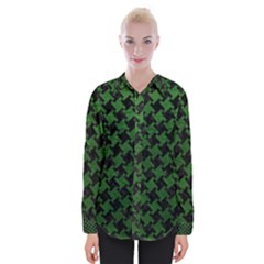 Houndstooth2 Black Marble & Green Leather Womens Long Sleeve Shirt